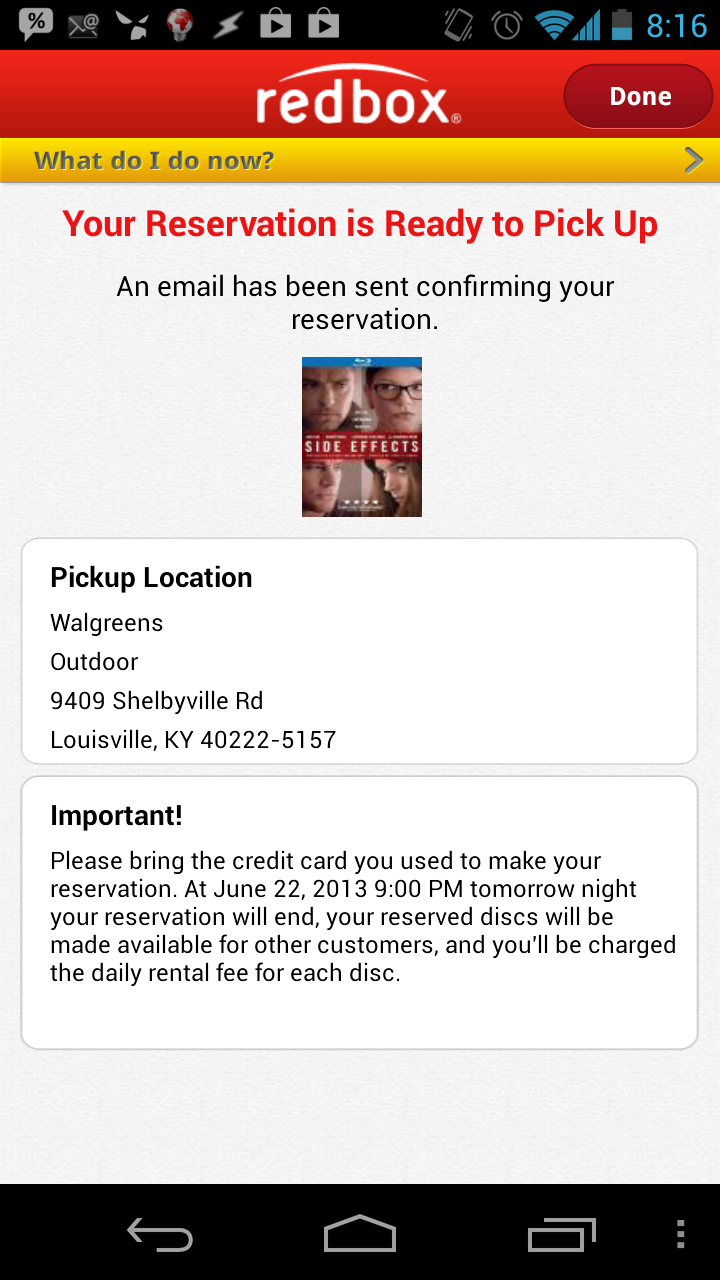 The RedBox app does not link the address to Google Maps