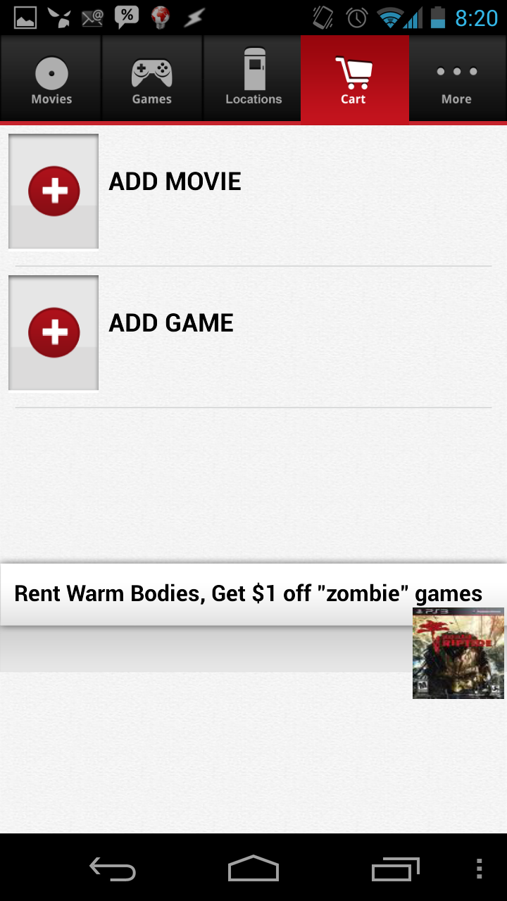The RedBox app empties my cart after login
