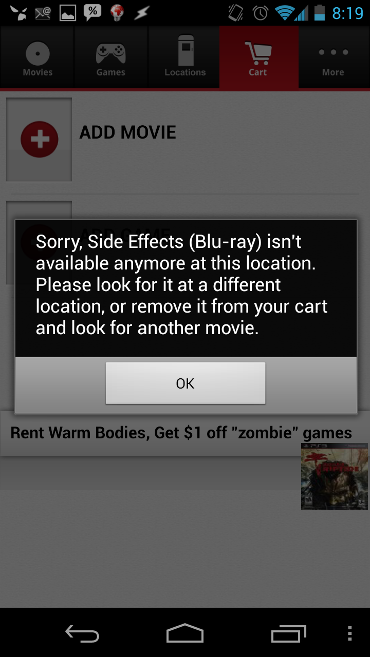 The RedBox app map failing to reserve a movie